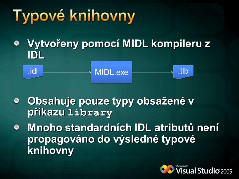 Vytvořeny pomocí MIDL kompileru z IDL Obsahuje pouze typy obsažené v příkazu library Mnoho standardních IDL atributů není propagováno do výsledné typové knihovny MIDL.exe.idl.tlb