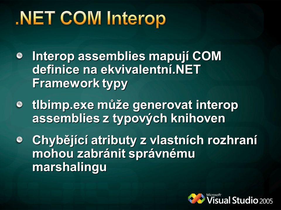 Interop assemblies mapují COM definice na ekvivalentní.NET Framework typy tlbimp.exe může generovat interop assemblies z typových knihoven Chybějící atributy z vlastních rozhraní mohou zabránit správnému marshalingu