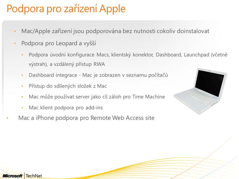 Podpora pro zařízení Apple Mac/Apple zařízení jsou podporována bez nutnosti cokoliv doinstalovat Podpora pro Leopard a vyšší Podpora úvodní konfigurac