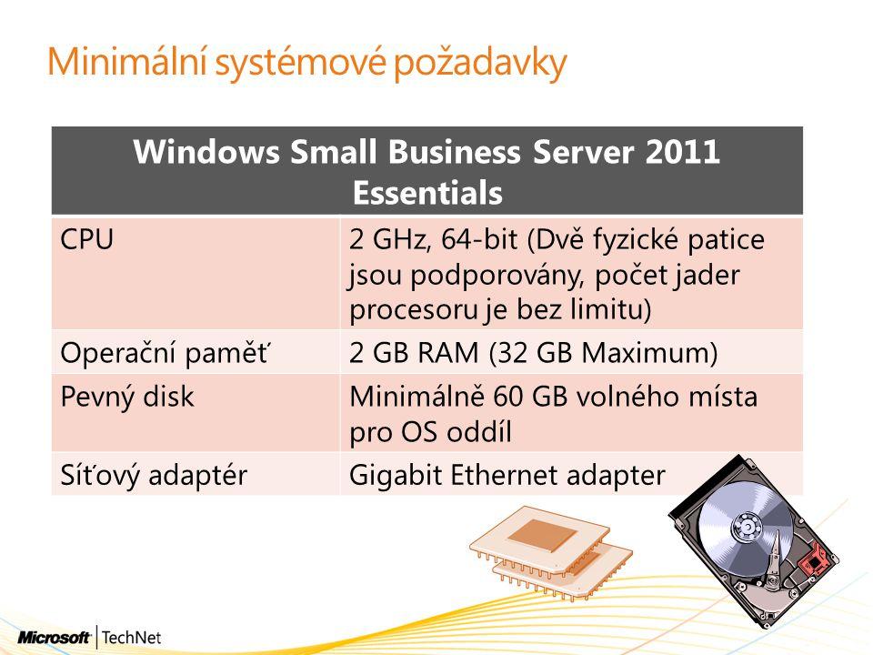 Minimální systémové požadavky Windows Small Business Server 2011 Essentials CPU2 GHz, 64-bit (Dvě fyzické patice jsou podporovány, počet jader proceso