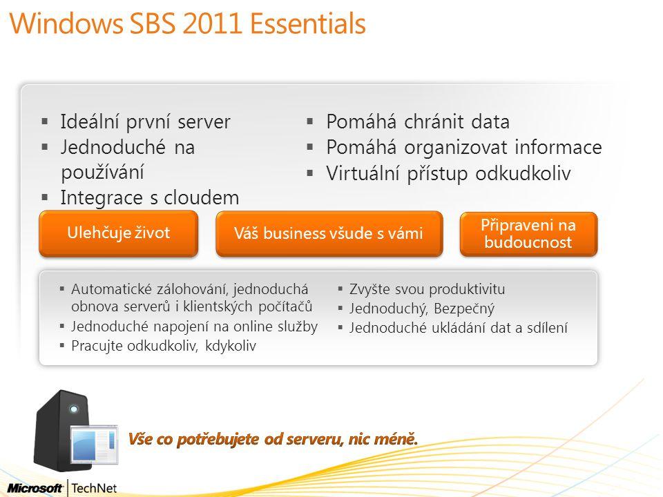  Ideální první server  Jednoduché na používání  Integrace s cloudem Ulehčuje život Váš business všude s vámi Windows SBS 2011 Essentials Připraveni