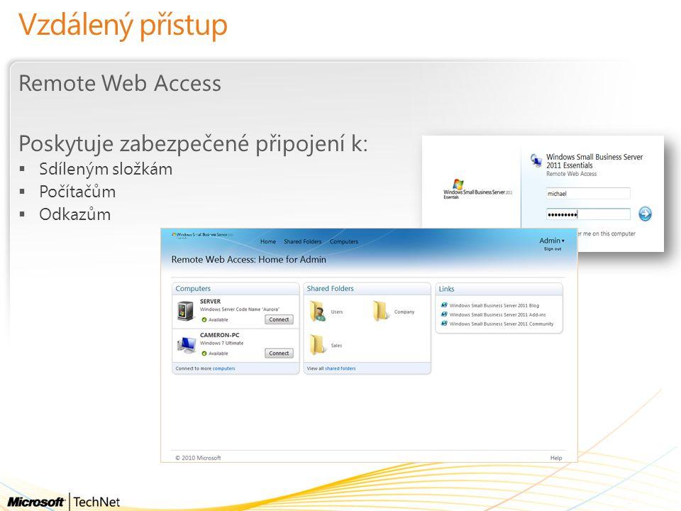 Vzdálený přístup Remote Web Access Poskytuje zabezpečené připojení k:  Sdíleným složkám  Počítačům  Odkazům