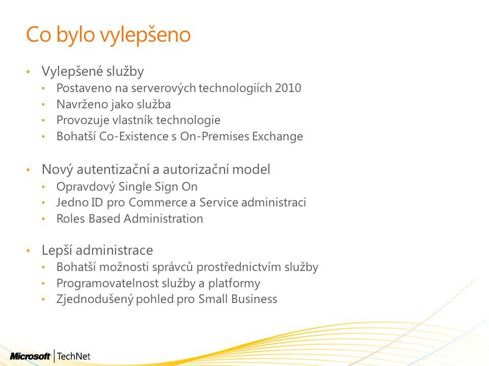 Co bylo vylepšeno Vylepšené služby Postaveno na serverových technologiích 2010 Navrženo jako služba Provozuje vlastník technologie Bohatší Co-Existenc