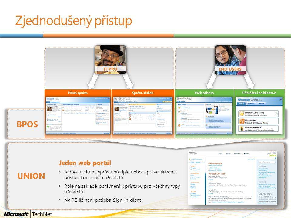 Zjednodušený přístup BPOS Správa služebPřímá správaPřihlášení na klientoviWeb přístup UNION Jeden web portál Jedno místo na správu předplatného, správ
