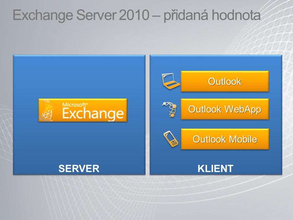 Exchange Server 2010 – přidaná hodnota SERVER KLIENT Outlook Mobile OutlookOutlook Outlook WebApp