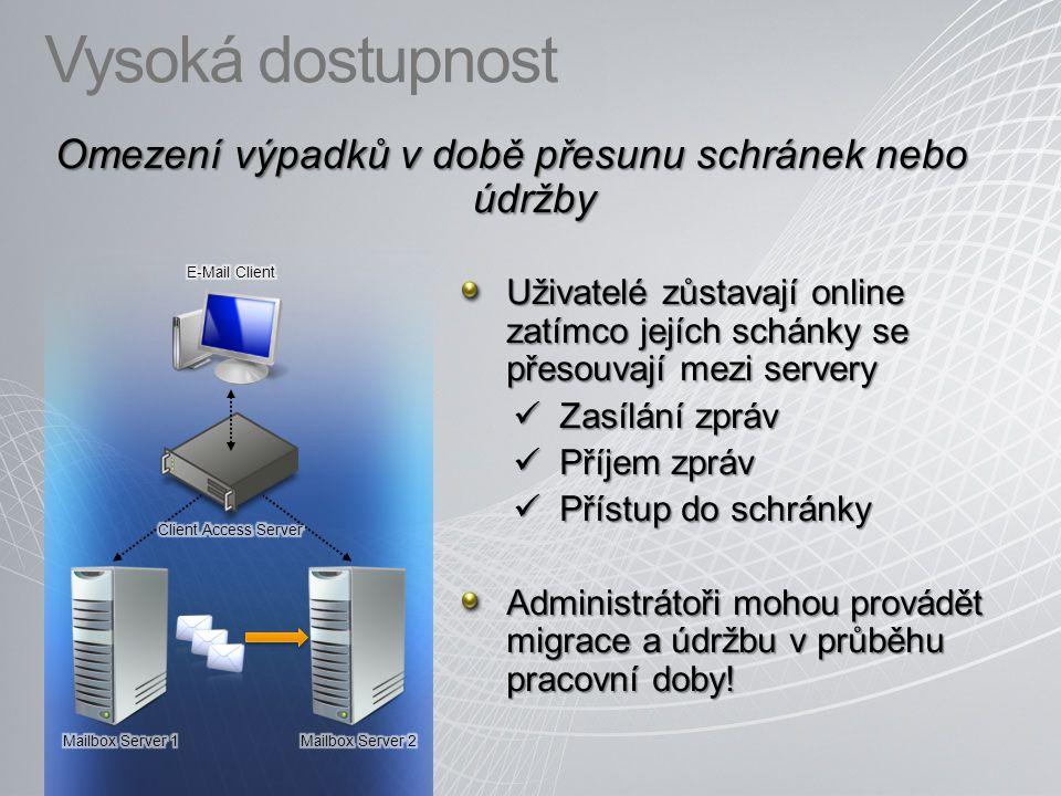 Vysoká dostupnost Omezení výpadků v době přesunu schránek nebo údržby Uživatelé zůstavají online zatímco jejích schánky se přesouvají mezi servery Zas