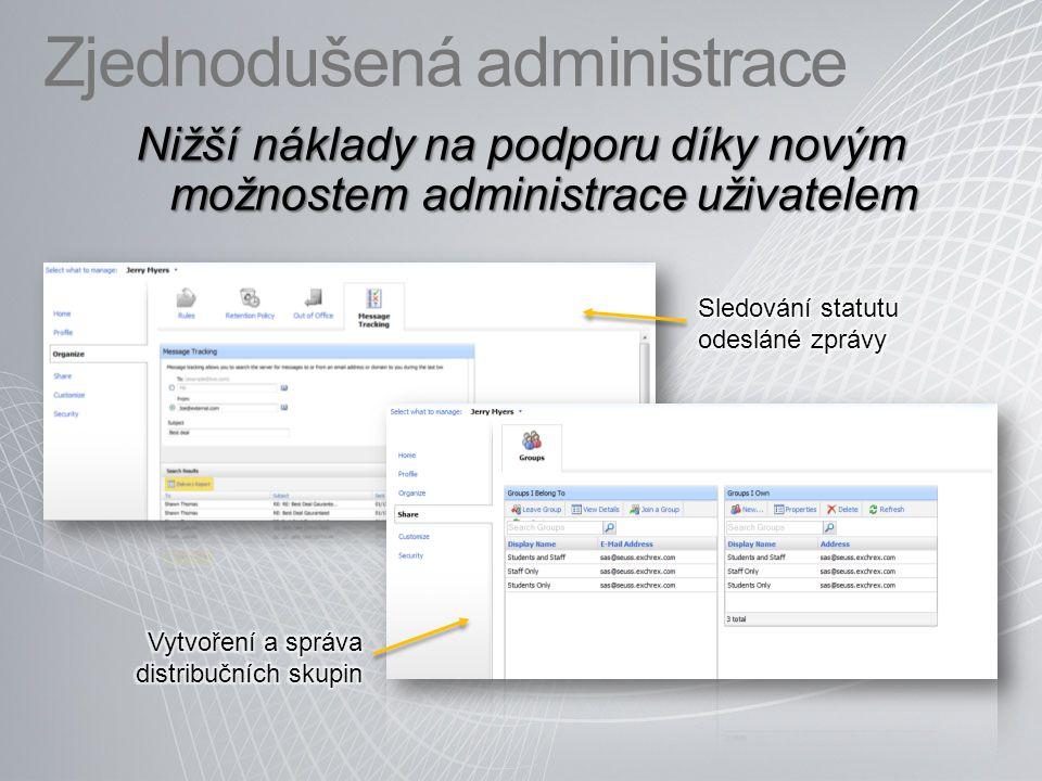 Zjednodušená administrace Nižší náklady na podporu díky novým možnostem administrace uživatelem