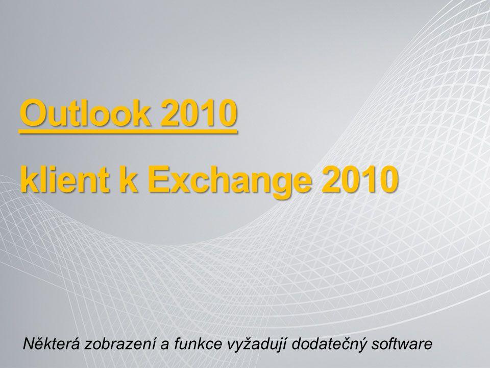 Outlook 2010 klient k Exchange 2010 Některá zobrazení a funkce vyžadují dodatečný software