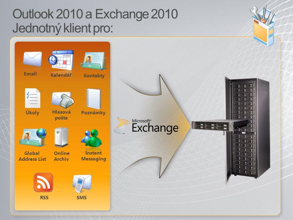 Outlook 2010 a Exchange 2010 Jednotný klient pro: Email Kalendář Kontakty Global Address List PoznámkyÚkoly Hlasová pošta SMS RSS Instant Messaging Online Archiv