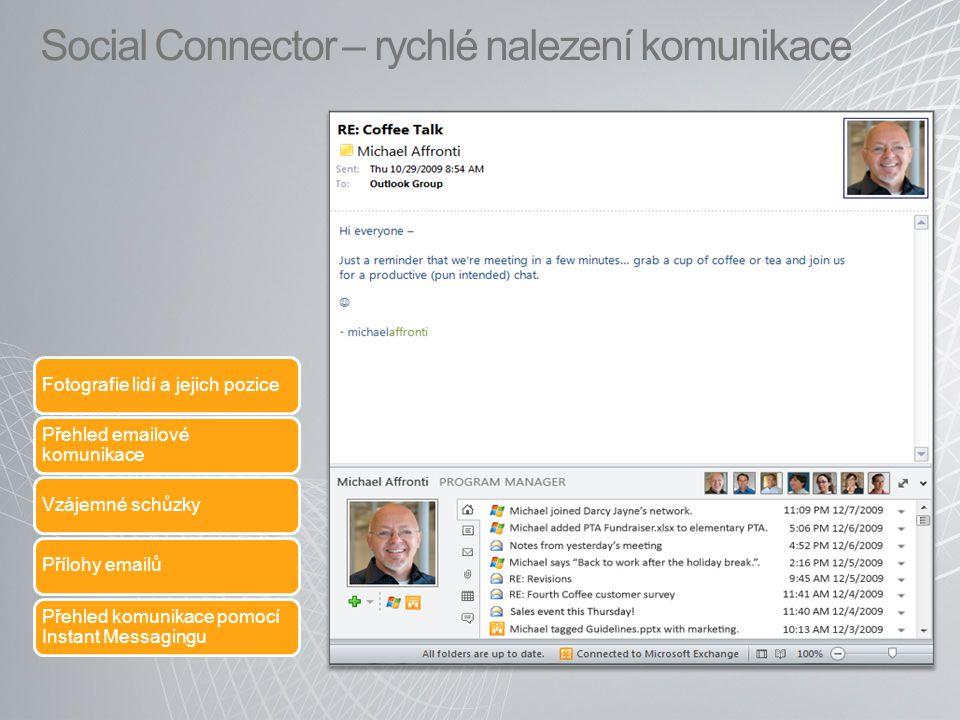 Social Connector – rychlé nalezení komunikace Fotografie lidí a jejich pozice Přehled emailové komunikace Vzájemné schůzkyPřílohy emailů Přehled komun