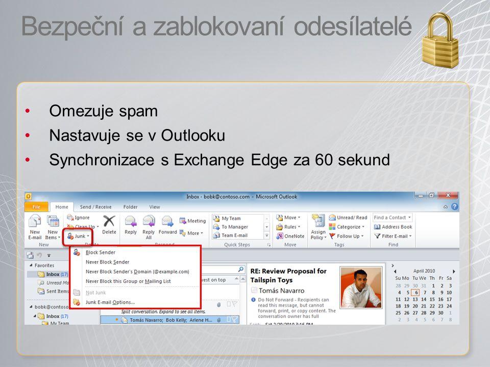 Bezpeční a zablokovaní odesílatelé Omezuje spam Nastavuje se v Outlooku Synchronizace s Exchange Edge za 60 sekund