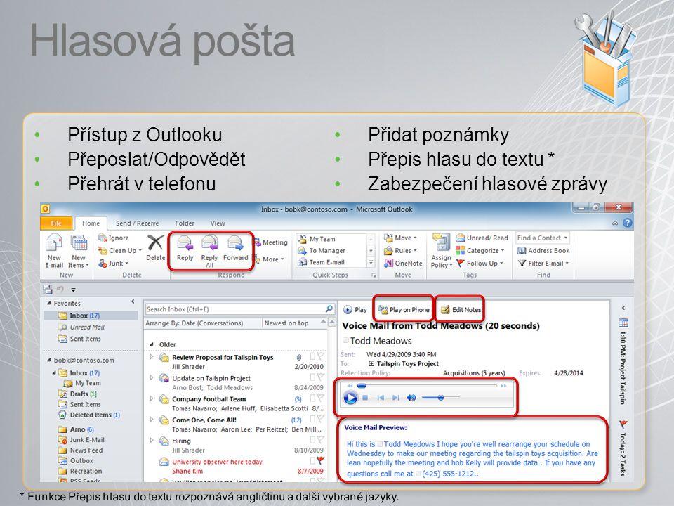 Hlasová pošta Přístup z Outlooku Přeposlat/Odpovědět Přehrát v telefonu Přidat poznámky Přepis hlasu do textu * Zabezpečení hlasové zprávy