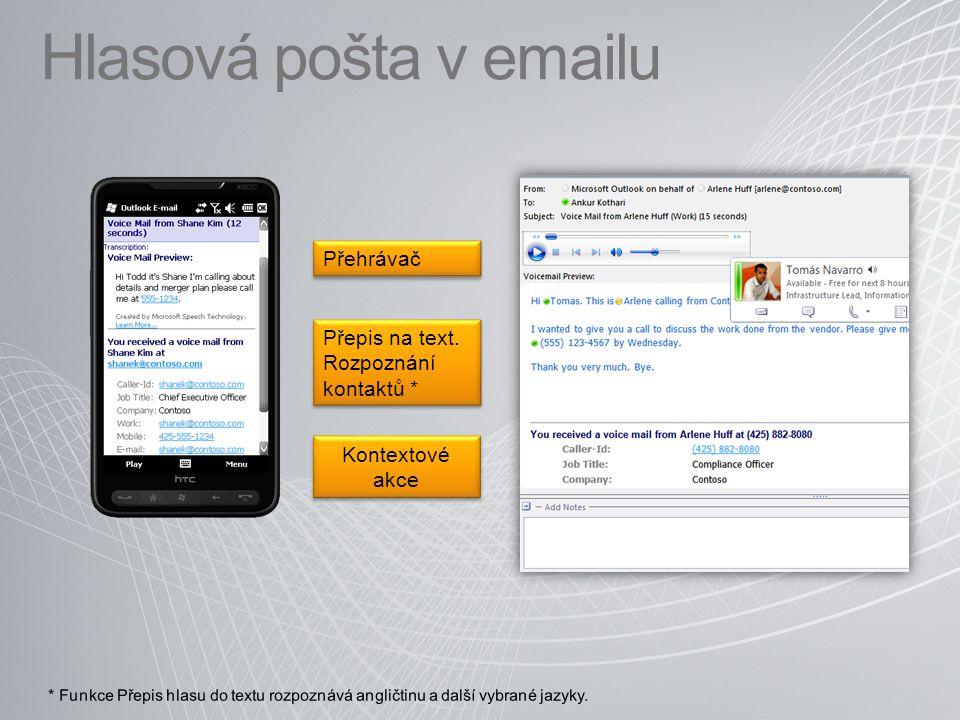 Hlasová pošta v emailu Kontextové akce Přehrávač Přepis na text. Rozpoznání kontaktů * Přepis na text. Rozpoznání kontaktů *