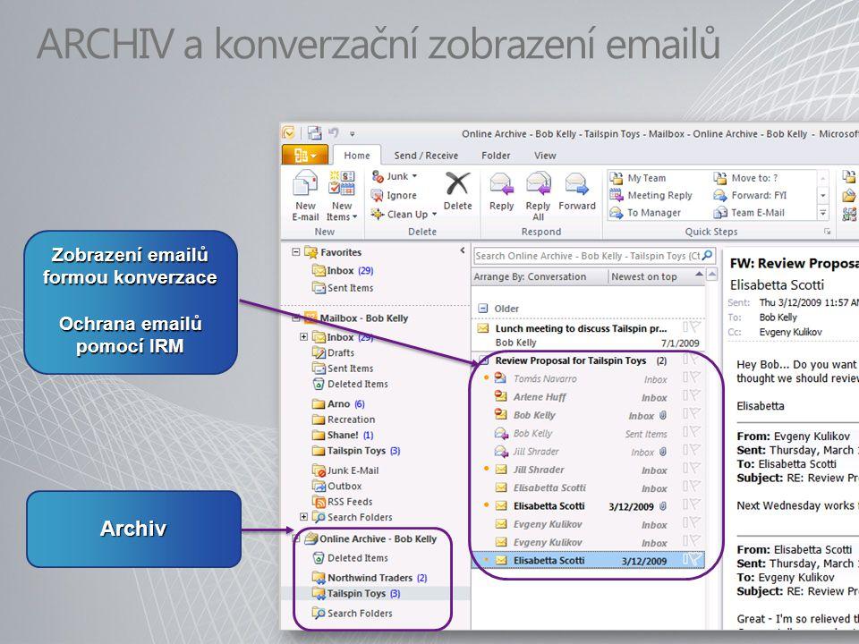 ARCHIV a konverzační zobrazení emailů Archiv Zobrazení emailů formou konverzace Ochrana emailů pomocí IRM