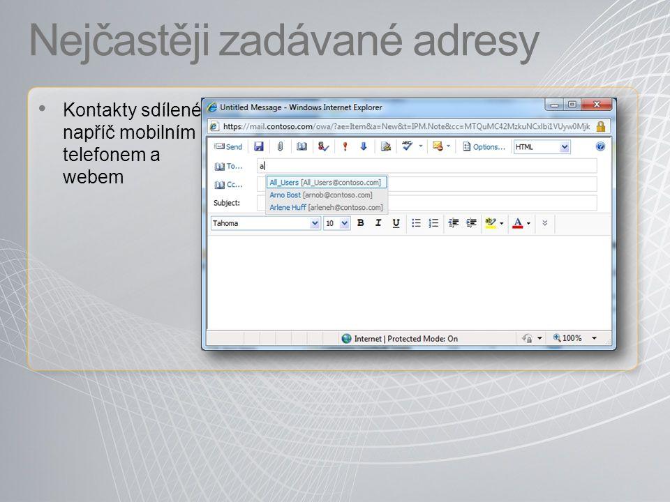 Nejčastěji zadávané adresy Kontakty sdílené napříč mobilním telefonem a webem