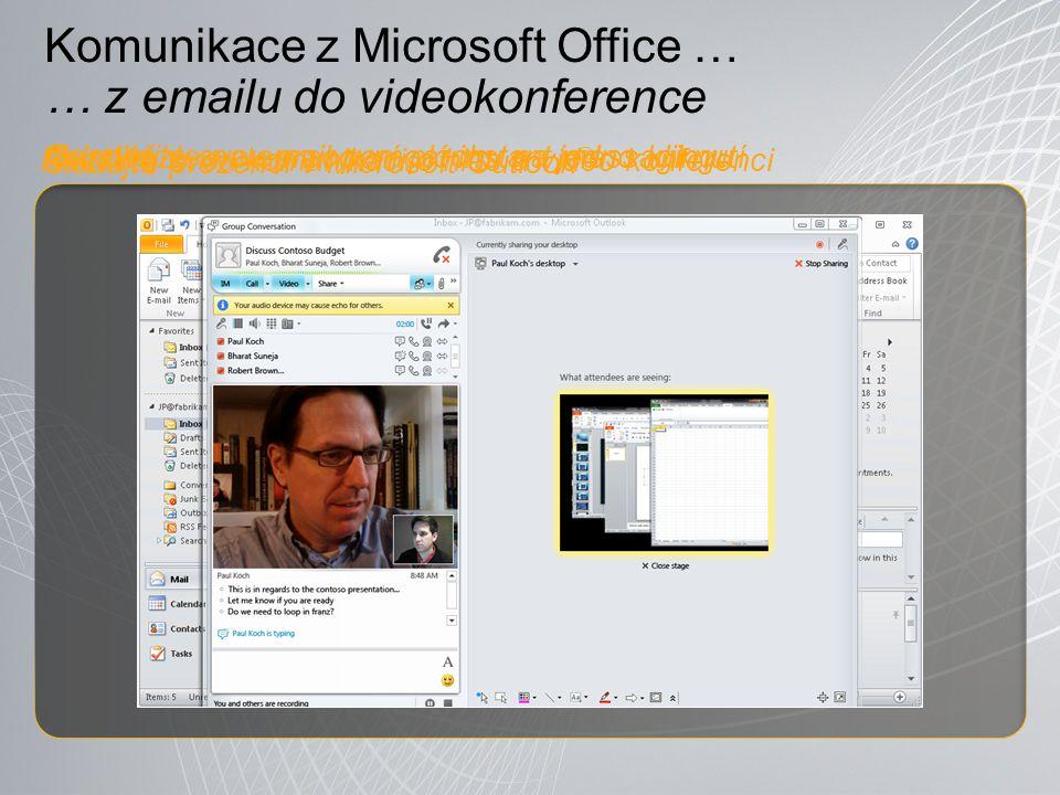 Komunikace z Microsoft Office … … z emailu do videokonference Sledujte prezenci v Microsoft Outlook ® Rozšiřte svou komunikaci o hlas a video konferenci Odpovězte na email pomocí instant messaginguNasdílejte svou pracovní plochu na jedno kliknutí