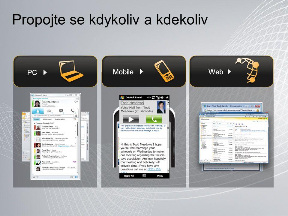 Propojte se kdykoliv a kdekoliv PC Web Mobile