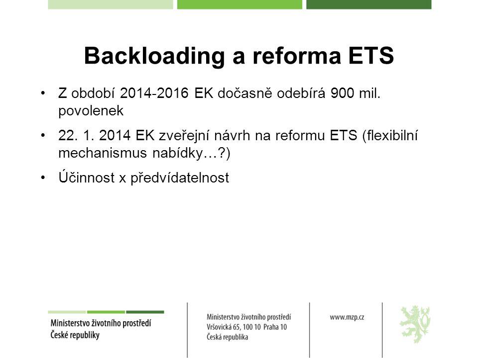 Backloading a reforma ETS Z období 2014-2016 EK dočasně odebírá 900 mil.