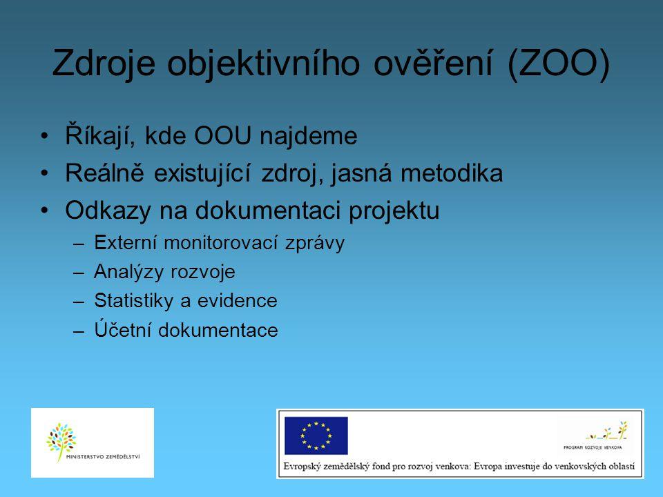 Zdroje objektivního ověření (ZOO) Říkají, kde OOU najdeme Reálně existující zdroj, jasná metodika Odkazy na dokumentaci projektu –Externí monitorovací