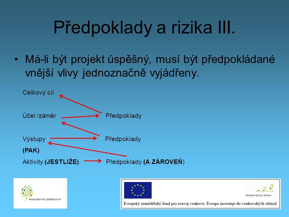 Předpoklady a rizika III. Má-li být projekt úspěšný, musí být předpokládané vnější vlivy jednoznačně vyjádřeny. 25 Celkový cíl Účel /záměr Předpoklady