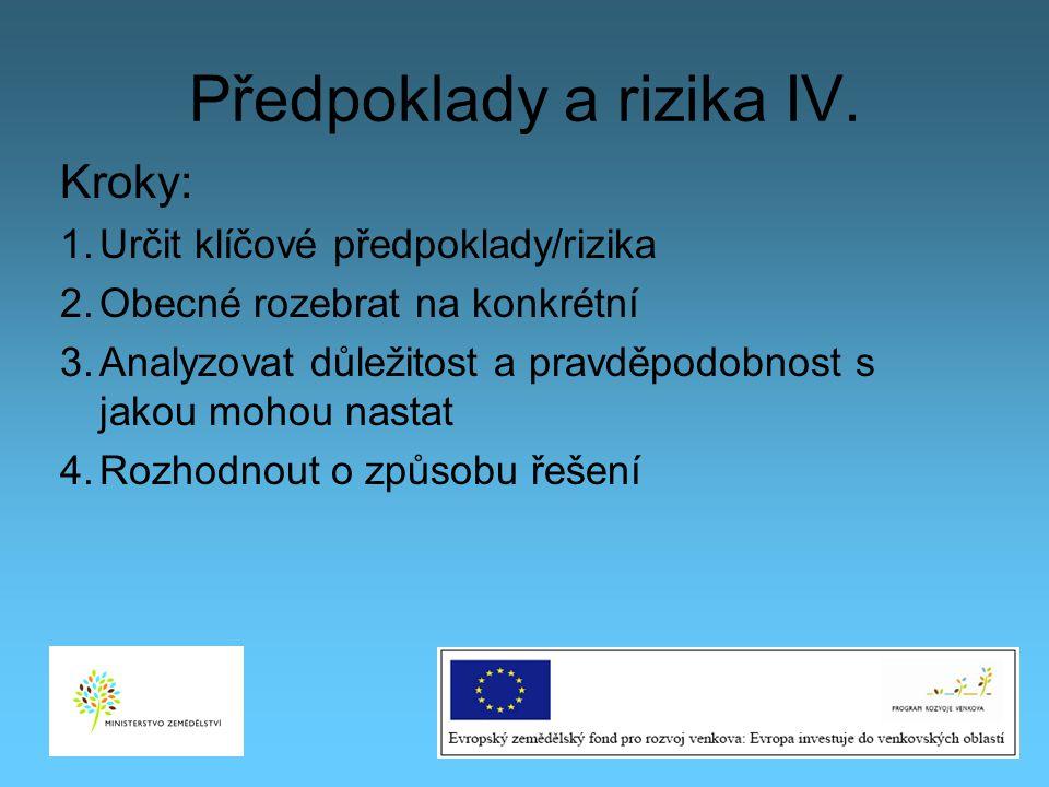 Předpoklady a rizika IV. Kroky: 1.Určit klíčové předpoklady/rizika 2.Obecné rozebrat na konkrétní 3.Analyzovat důležitost a pravděpodobnost s jakou mo