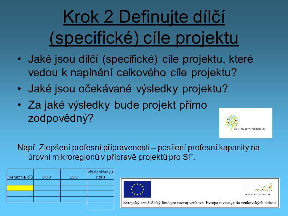 Krok 2 Definujte dílčí (specifické) cíle projektu Jaké jsou dílčí (specifické) cíle projektu, které vedou k naplnění celkového cíle projektu? Jaké jso