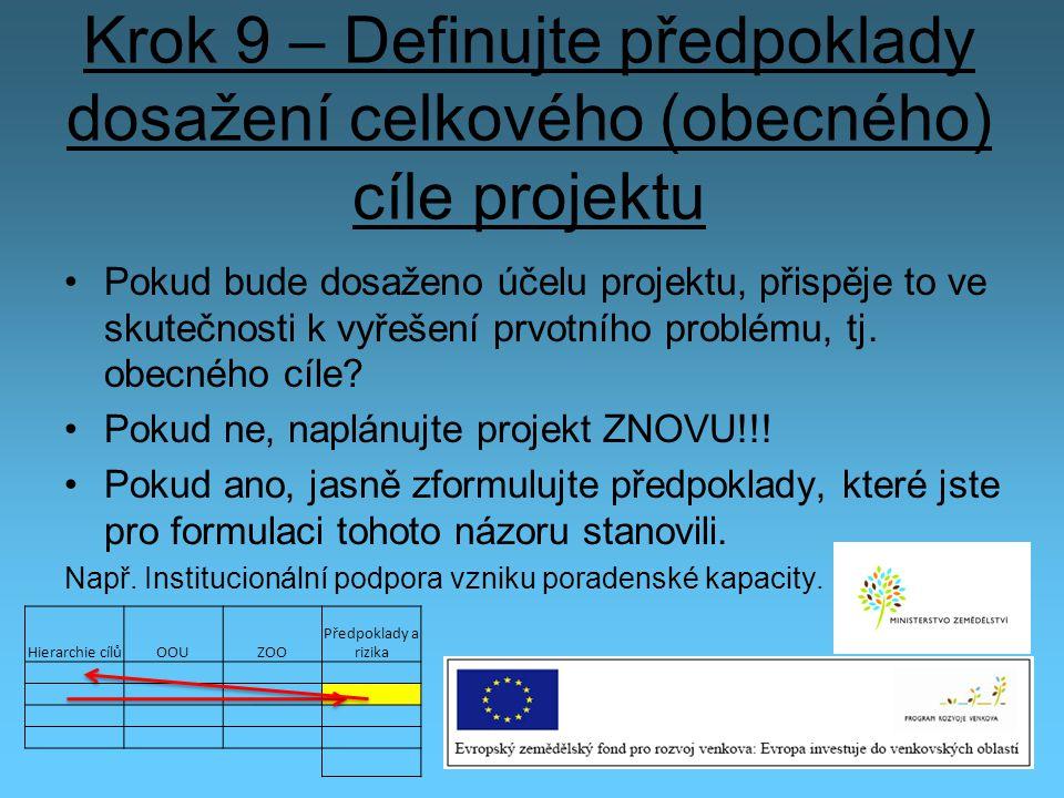 Krok 9 – Definujte předpoklady dosažení celkového (obecného) cíle projektu Pokud bude dosaženo účelu projektu, přispěje to ve skutečnosti k vyřešení p