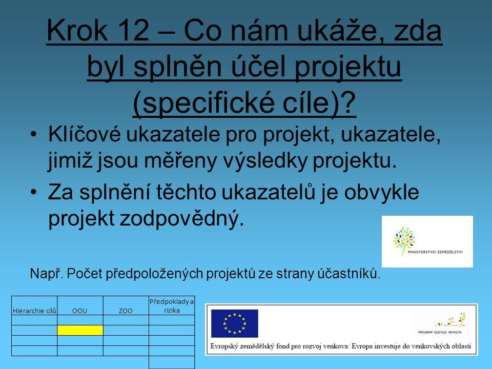 Krok 12 – Co nám ukáže, zda byl splněn účel projektu (specifické cíle)? Klíčové ukazatele pro projekt, ukazatele, jimiž jsou měřeny výsledky projektu.