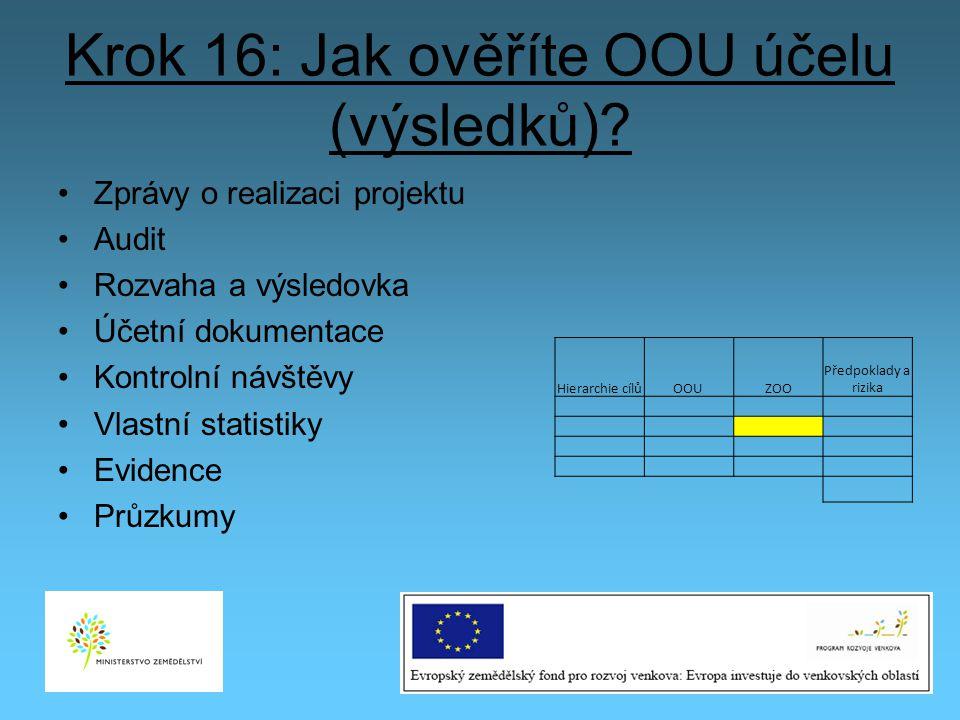 Krok 16: Jak ověříte OOU účelu (výsledků)? Zprávy o realizaci projektu Audit Rozvaha a výsledovka Účetní dokumentace Kontrolní návštěvy Vlastní statis