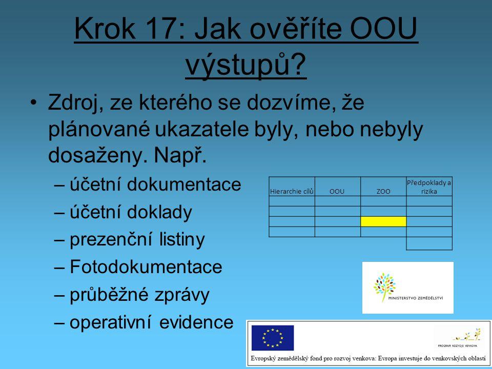Krok 17: Jak ověříte OOU výstupů? Zdroj, ze kterého se dozvíme, že plánované ukazatele byly, nebo nebyly dosaženy. Např. –účetní dokumentace –účetní d