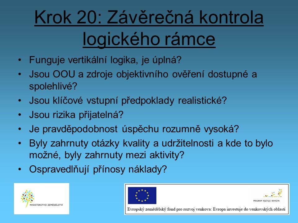 Krok 20: Závěrečná kontrola logického rámce Funguje vertikální logika, je úplná? Jsou OOU a zdroje objektivního ověření dostupné a spolehlivé? Jsou kl