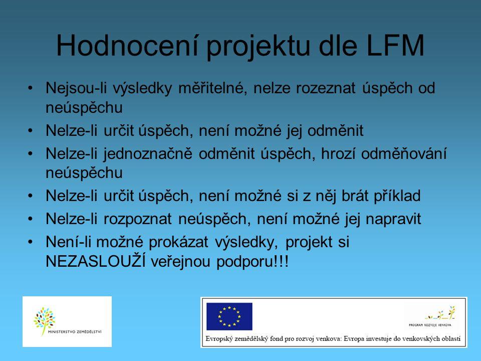 Hodnocení projektu dle LFM Nejsou-li výsledky měřitelné, nelze rozeznat úspěch od neúspěchu Nelze-li určit úspěch, není možné jej odměnit Nelze-li jed