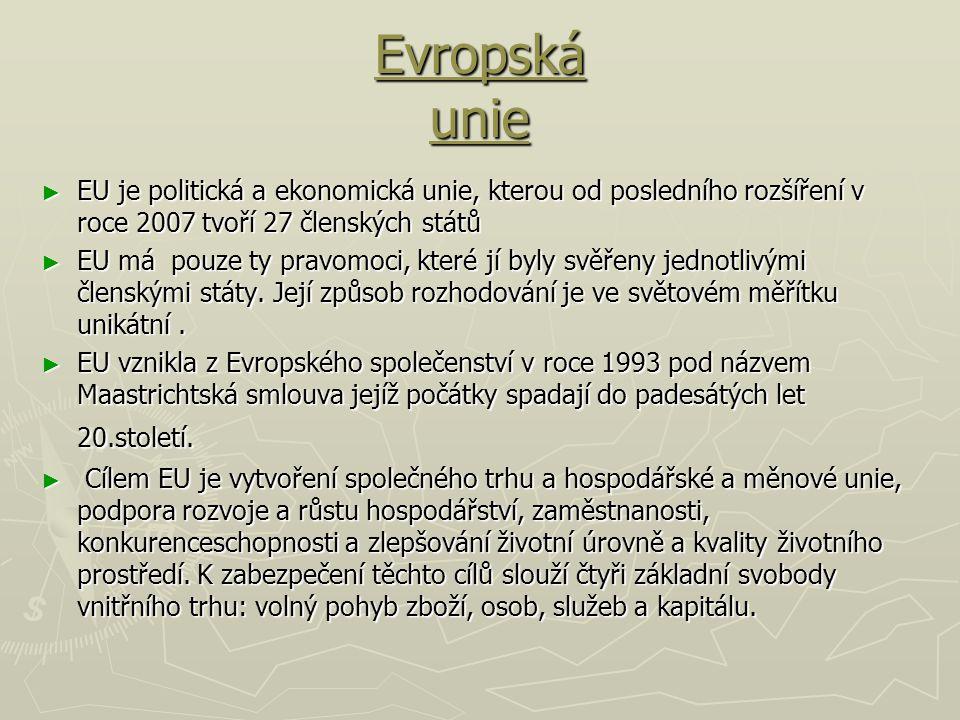 Evropská unie ► EU je politická a ekonomická unie, kterou od posledního rozšíření v roce 2007 tvoří 27 členských států ► EU má pouze ty pravomoci, kte