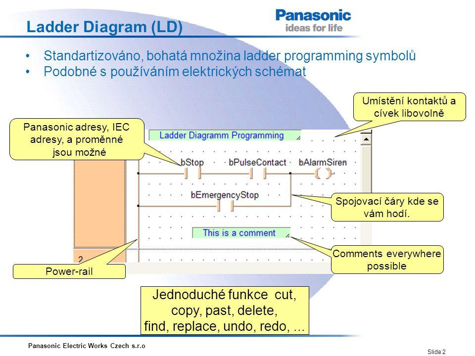 Panasonic Electric Works Czech s.r.o Slide 2 Ladder Diagram (LD) Standartizováno, bohatá množina ladder programming symbolů Podobné s používáním elekt