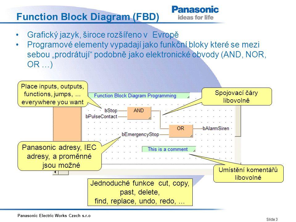 Panasonic Electric Works Czech s.r.o Slide 4 Structured Text (ST) Vyšší programovací jazyk, blokově strukturovaný Syntaxe podobná PASCALU Podporuje: -smyčky (REPEAT-UNTIL; WHILE-DO) -podmínky (IF-THEN-ELSE; CASE) -funkce (SQRT(), SIN()) Panasonic adresy, IEC adresy, a proměnné jsou možné Instruction Umístění komentářů libovolné Jednoduché funkce cut, copy, past, delete, find, replace, undo, redo,...