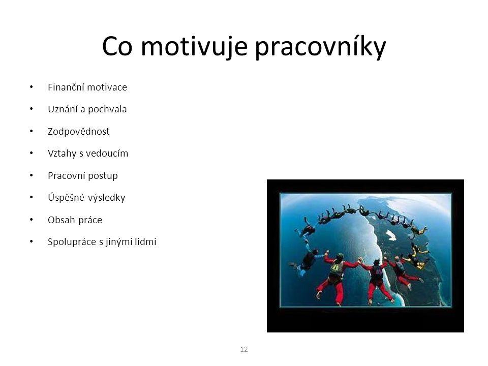 12 Co motivuje pracovníky Finanční motivace Uznání a pochvala Zodpovědnost Vztahy s vedoucím Pracovní postup Úspěšné výsledky Obsah práce Spolupráce s jinými lidmi