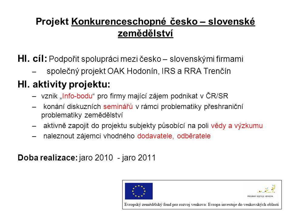 Projekt Konkurenceschopné česko – slovenské zemědělství Hl.