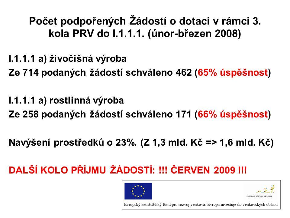 Počet podpořených Žádostí o dotaci v rámci 3.kola PRV do I.1.1.1.