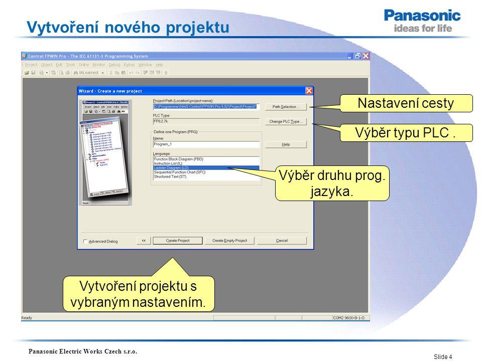 Panasonic Electric Works Czech s.r.o.Slide 15 První projekt v Ladder Diagramu První malý projekt.