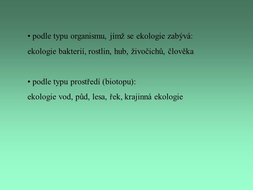 podle typu organismu, jímž se ekologie zabývá: ekologie bakterií, rostlin, hub, živočichů, člověka podle typu prostředí (biotopu): ekologie vod, půd,