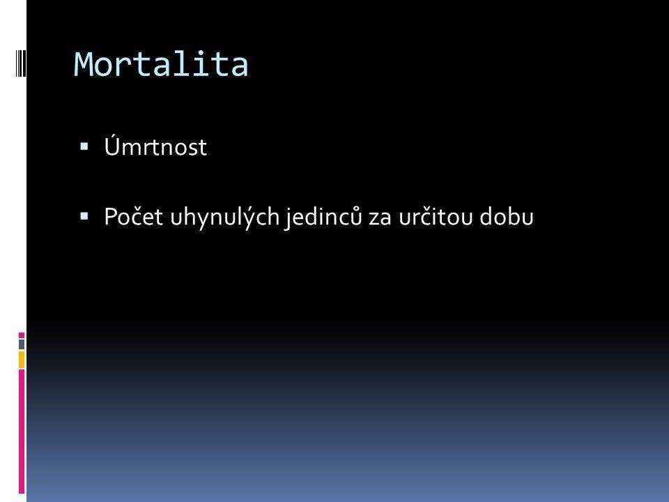 Mortalita  Úmrtnost  Počet uhynulých jedinců za určitou dobu