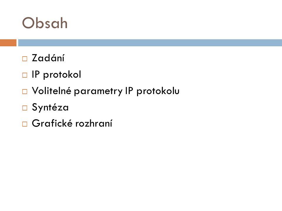 Obsah  Zadání  IP protokol  Volitelné parametry IP protokolu  Syntéza  Grafické rozhraní