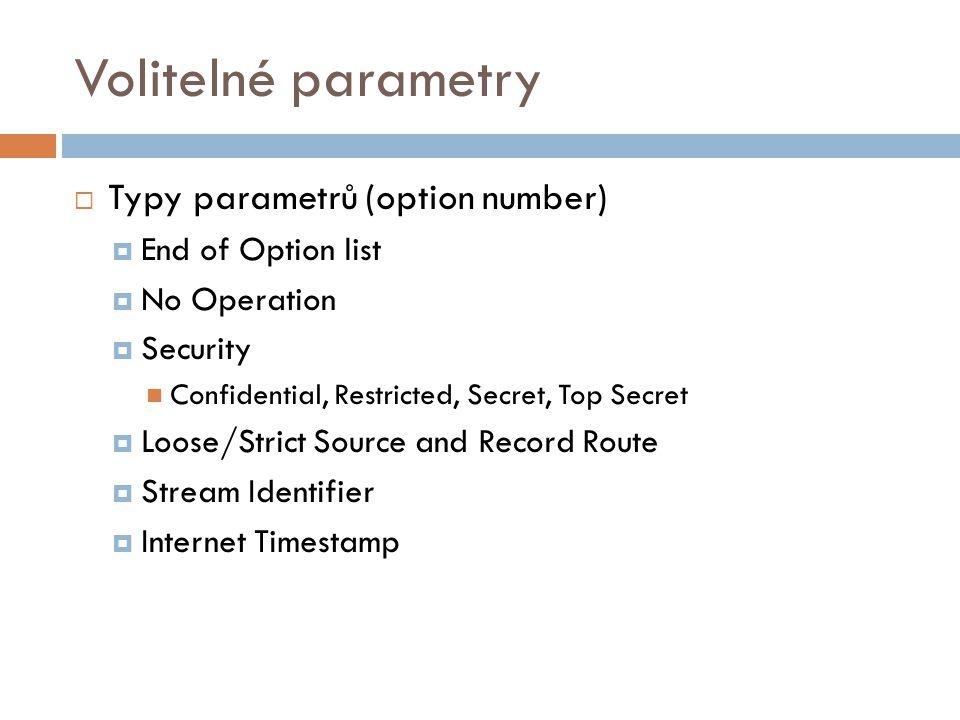 Volitelné parametry  Typy parametrů (option number)  End of Option list  No Operation  Security Confidential, Restricted, Secret, Top Secret  Loo