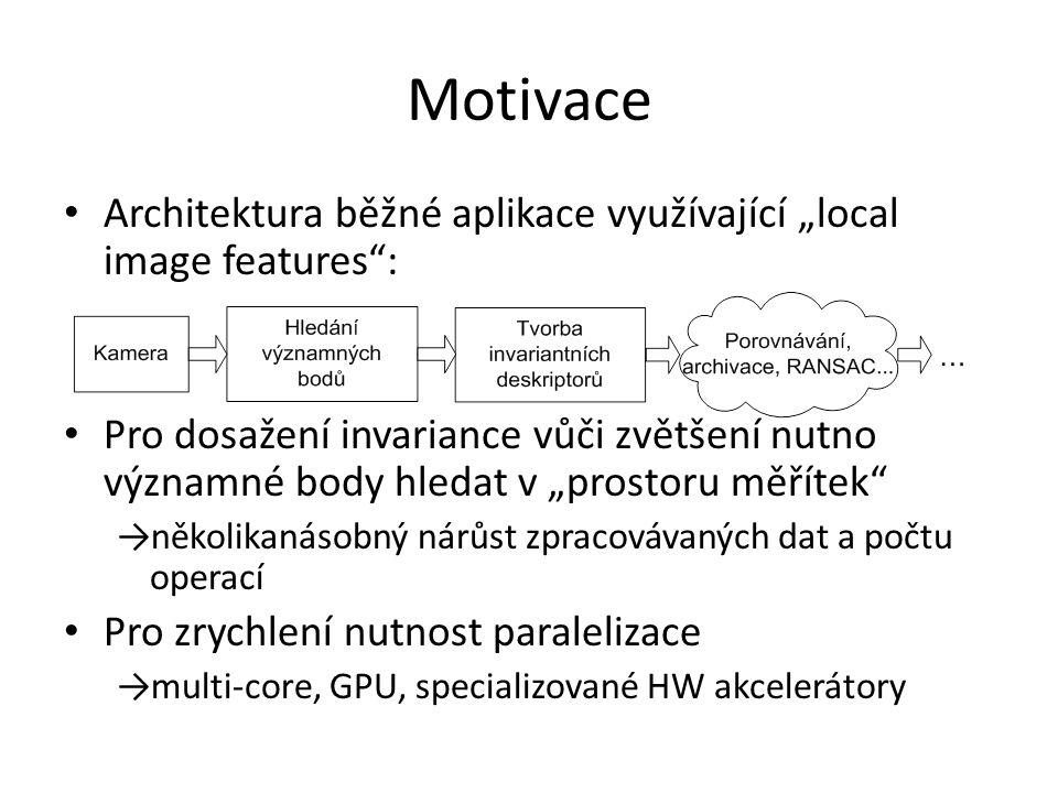 """Motivace Architektura běžné aplikace využívající """"local image features : Pro dosažení invariance vůči zvětšení nutno významné body hledat v """"prostoru měřítek →několikanásobný nárůst zpracovávaných dat a počtu operací Pro zrychlení nutnost paralelizace →multi-core, GPU, specializované HW akcelerátory"""