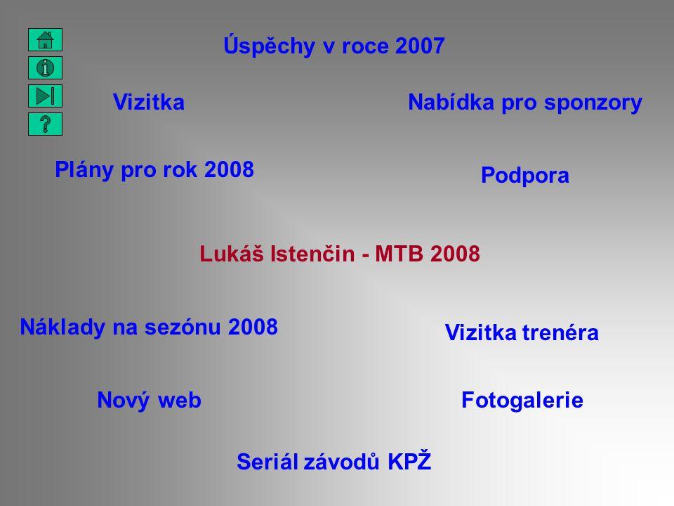 Lukáš Istenčin - MTB 2008 Vizitka Podpora Úspěchy v roce 2007 Vizitka trenéra Náklady na sezónu 2008 Nový web Seriál závodů KPŽ Fotogalerie Plány pro