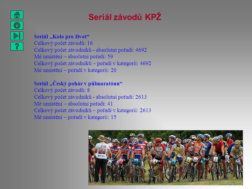"""Seriál závodů KPŽ Seriál """"Kolo pro život"""" Celkový počet závodů: 16 Celkový počet závodníků - absolutní pořadí: 4692 Mé umístění – absolutní pořadí: 59"""