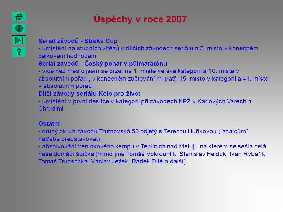 Úspěchy v roce 2007 Seriál závodů - Straka Cup - umístění na stupních vítězů v dílčích závodech seriálu a 2. místo v konečném celkovém hodnocení Seriá