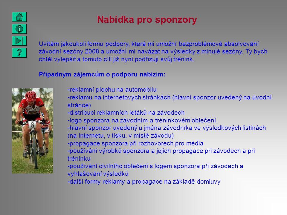 Nabídka pro sponzory Uvítám jakoukoli formu podpory, která mi umožní bezproblémové absolvování závodní sezóny 2008 a umožní mi navázat na výsledky z m