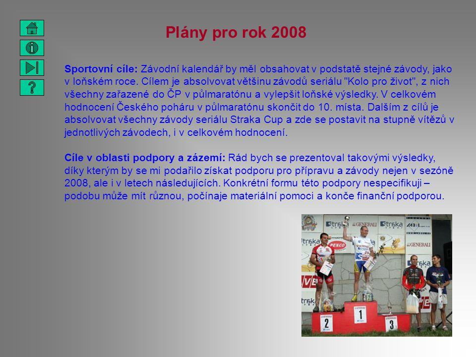 Plány pro rok 2008 Sportovní cíle: Závodní kalendář by měl obsahovat v podstatě stejné závody, jako v loňském roce. Cílem je absolvovat většinu závodů