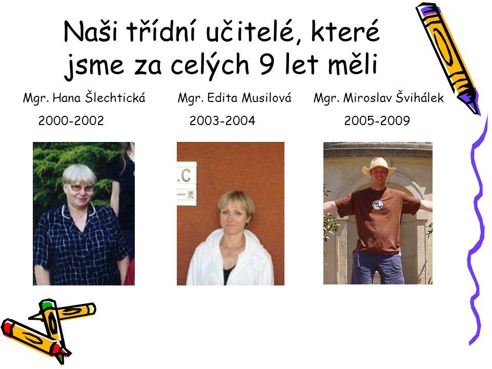 Naši třídní učitelé, které jsme za celých 9 let měli 2000-20022003-20042005-2009 Mgr. Edita MusilováMgr. Miroslav ŠvihálekMgr. Hana Šlechtická